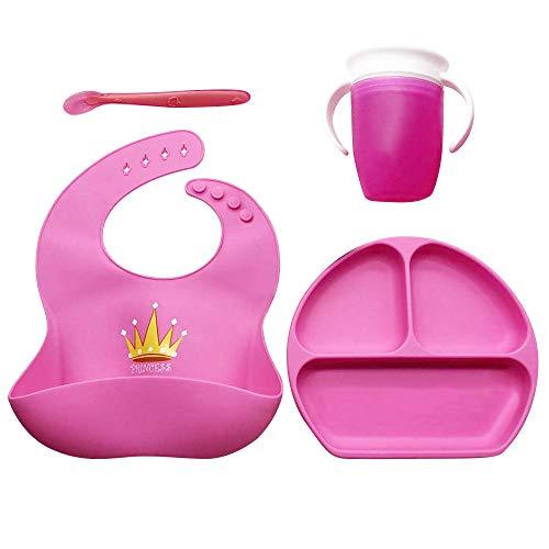 Vajilla para Bebés y Niños, Set: Plato con ventosa, Vaso antiderrame 360 aprendizaje, Babero impermeable y Cuchara, ideal para Baby Lead Weaning (Rosa)