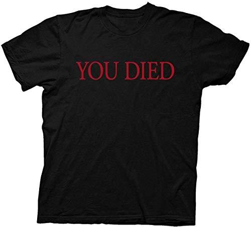Dark Souls You Died Camiseta de Hombre 100% algodón Camiseta Estampada Estampada Top de Manga Transpirable para Fiesta Fiesta Escolar al Aire Libre S-3XL