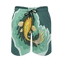 EIR クラシックなコイ 魚 水着 メンズ ビーチパンツ ハーフパンツ 水濡れOK素材 カジュアル 短パン サーフパンツ men's M/L/LL 海パン ポケット付き