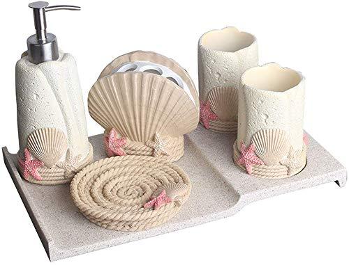 Yanyu Fünfer Beach Shell-Form Badezimmer-Zubehör Sets - Lotion-Flasche Zwei Zahnbürste Cup Zahnbürstenhalter und Seifenkiste, mit Kies Tray