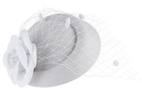 GEMVIE Serre Tête Femme Mariage Bibi Chapeau Voilette Fleur Coiffure Mariée Blanc