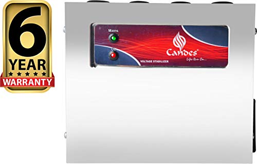 Candes for LCD/LED TV Up to 65 inch + Set Topbox/DVD Player (90V to 300V), 100% Copper Voltage Stabilizer with 6 Years Warranty & Wall Mountable SS Cabinet