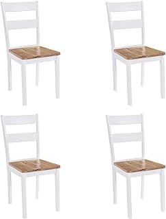 vidaXL 4 krzesła do jadalni kauczukowe białe salon meble kuchenne siedzenie