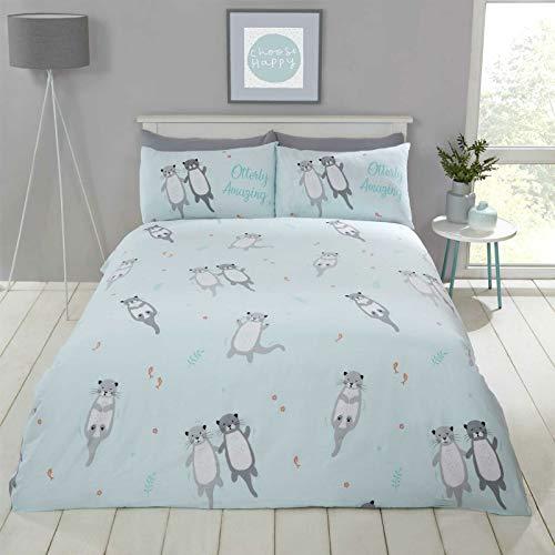 Bedding Heaven OTTERLY AMAZING Cute, Playful Otter Print Duvet Cover Set - Aqua Single