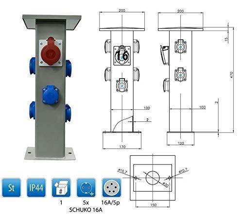 Baustromverteiler Steckdosensäule 1 x CEE16A + 5 x 230V Schuko Außensteckdose Gartensteckdose IP44