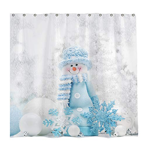 Allenjoy 72x72 inch Winter Theme Merry Christmas Shower Curtain Set with 12 Hooks Colorful Star Blue Hat Cute Snowman Bathroom Curtain Durable Waterproof Fabric Bathtub Sets Home Decor