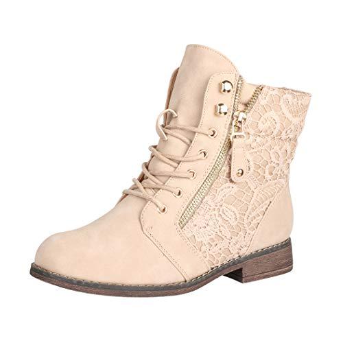 Elara Damen Stiefeletten Worker Boots Spitze Chunkyrayan B9812-KB-Beige-37