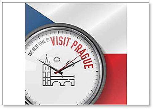 Die beste Zeit für einen Besuch in Prag. Hintergr& Tschechische Flagge Kühlschrankmagnet Uhr mit Charles Bridge