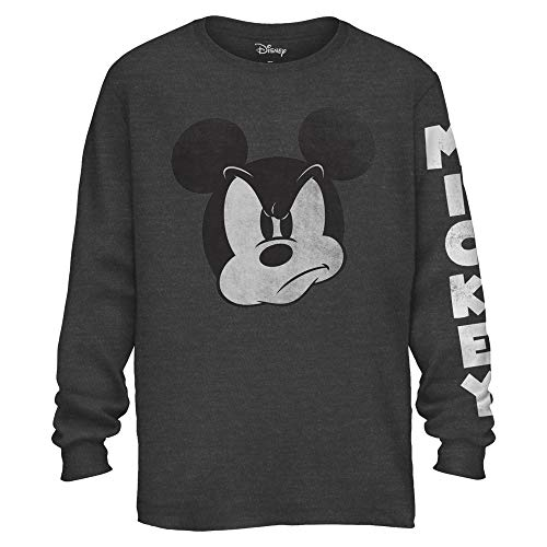 Mad Mickey Mouse Graphic Classic Vintage Disneyland World Men's Adult Long Sleeve T-Shirt (Charcoal Heather, Large)