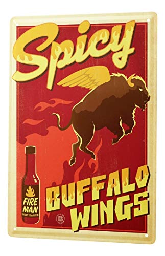 LEotiE SINCE 2004 Fun Tin Sign Metal Plate Decorative Sign Home Decor Plaques Wall Decoration Hot Buffalo Wing Sauce Metal Plate 8X12