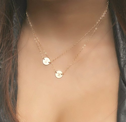 Layered Initial Necklace, All 14K Gold Filled, two personalized discs, off-center, 2 custom stamped initial discs, double necklace, letter, double chain, two chains, circles