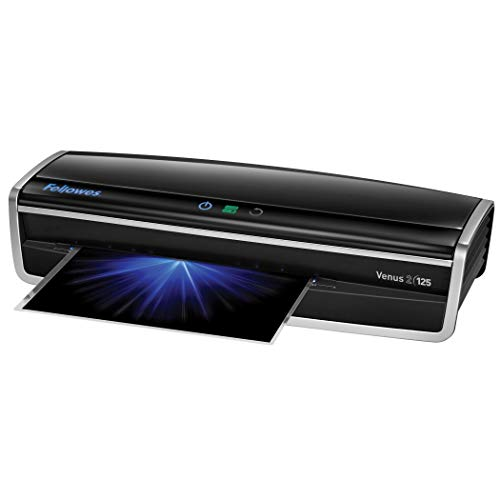 Fellowes Laminator Venus 2 125, Rapid 30-60 Second Warm-up Laminating Machine, with Laminating Pouches Kit (5734801), Black, Silver, 5.1' x 21.3' x 8.2'
