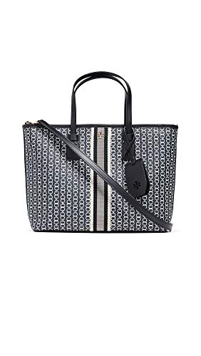 Tory Burch Women's Gemini Link Canvas Small Tote, Black Gemini Link, One Size