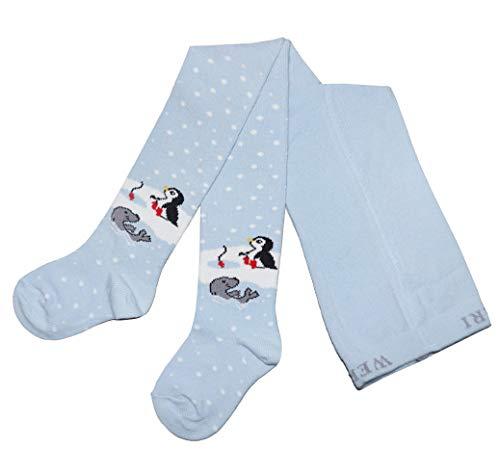Weri Spezials Baby und Kinder Strumpfhosen für Jungen und Mädchen - Frohe Weihnachten Motive! In verschiedenen Muster- und Farbvariationen. (98-104, Hellblau Freunde)