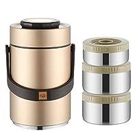 ポータブルスタッカブルランチボックス、304ステンレス鋼弁当箱、キャンプスクールオフィス用の断熱食品容器,Gold-2.3L