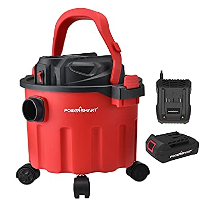 PowerSmart Wet Dry Vacuum, 20V 2.6 Gallons Cordless Wet Dry Vacuum, Portable Wet/Dry Dust Extractor/Vacuum with Blower, Multifunctional Cordless Shop Vacuum, Battery and Charger Included, PS76168A