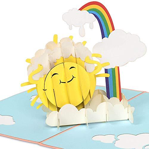 """PaperCrush Pop-Up Karte Kindergeburtstag """"Lachende Sonne"""" [NEU!] - Lustige 3D Geburtstagskarte für Kinder (Mädchen und Jungen), Handgemachte Glückwunschkarte zum 3. oder 5. Geburtstag"""