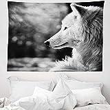 ABAKUHAUS Wolf Wandteppich, Tierprofil Porträt in der Natur Wildtier Fleischfresser Graustufen Hundefotografie, aus Weiches Mikrofaser Stoff Wand Dekoration Für Schlafzimmer, 150 x 110 cm, Blassgrau