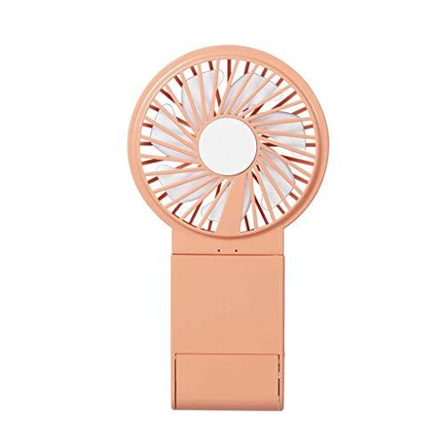 LHQ-HQ DC5V 2.5W 3-en-1 vanidad espejo ventilador teléfono móvil titular USB ventilador de mano LED colorido lámpara vanidad espejo naranja escritorio USB ventilador