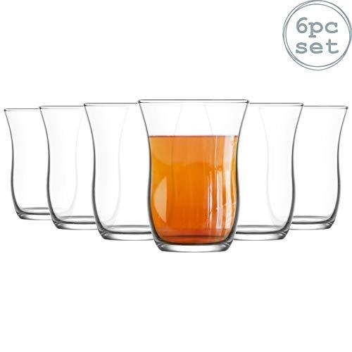 Lav 6 Pezzo Harman Vetro Tea Cup Set - Stile Turco Tulip Bicchieri per tè, caffè - Clear - 95 ml