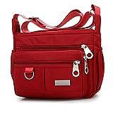 Mdsfe Moda para Mujer Color sólido Cremallera Impermeable Hombro de Nylon Bolsa Crossbody Bolsas para Mujeres Bolsas de Mensajero Bolsa Feminina - Rojo, a2