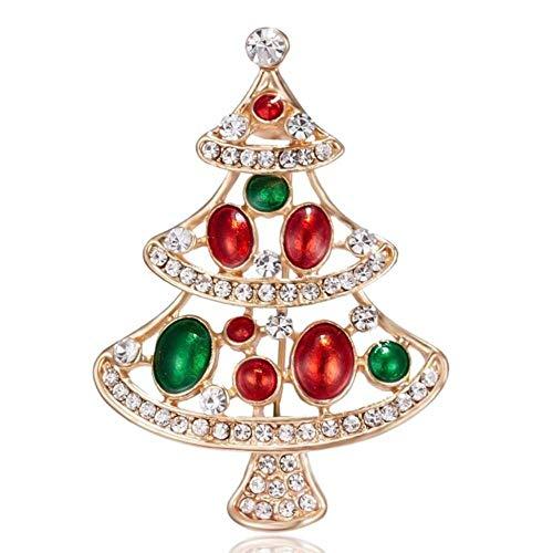 Broche arbre de Noël pour femme incrustée de strass - Broche tendance pour festival, cadeau d'hiver pour manteau, chapeau, 15