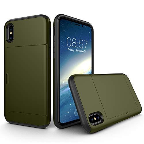 Suhctup - Funda protectora para iPhone XS Max con ranuras para tarjetas, capacidad para 2 tarjetas de crédito, ultra resistente, con cartera antigoteo, color marrón