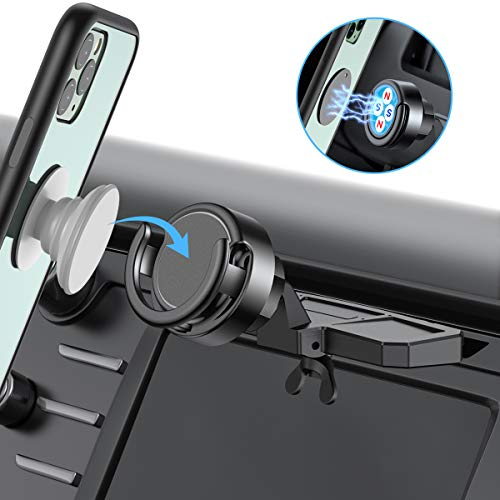 Car Phone Mount Miracase CD Slot Car Phone Holder [2 in 1] Magnetic PO Grip Stand Cell Phone Holder for Car Compatible with iPhone11 Pro Max XR Xs X 8 7 Plus Galaxy Note10 9 S10 9 Lg Moto Etc