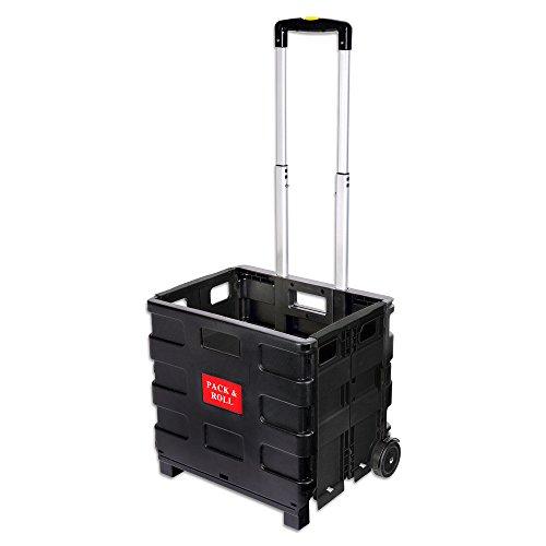 Schramm® Einkaufstrolley schwarz faltbar klappbar Einkauf Trolley Korb Klappbox Einkaufstasche Einkaufswagen Klappboxen mit Teleskopgriff Shopping Trolley