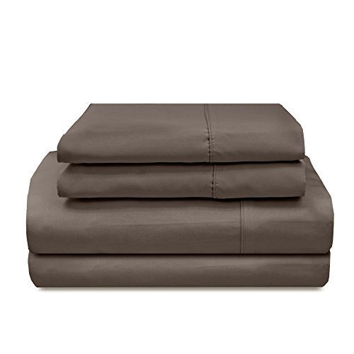Veratex Supreme Sateen Collection 300 Thread Count 100% Egyptian Cotton Sateen Solid Designed 3 Piece Bedroom Sheet Set, Twin Size, Espresso