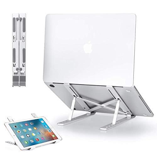 GIM - Supporto pieghevole per computer portatile, 6 livelli, in alluminio, regolabile, per MacBook, MacBook Air Pro, Tablet iPad, Lenovo, Dell da 10 a 15,6 pollici