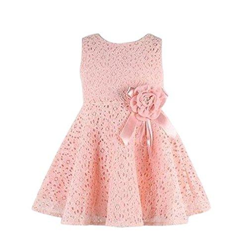 Bonjouree Filles Robe sans Manches Pleine Fleur de Dentelle Princesse Robes 0-7 Ans (0-2 Ans, Rose)