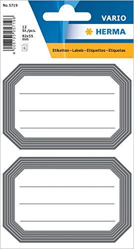 HERMA 5719 Buchetiketten, grauer Rand, selbstklebende neutrale Heftetiketten aus Papier für die Schule für Kinder, Mädchen und Jungen, 12 Schuletiketten