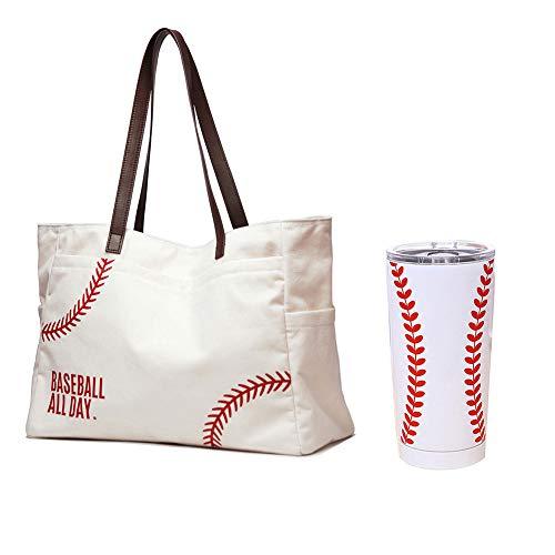 Übergroße Baseball-Handtasche mit Deckel., Weiß (Weiß), X-Large