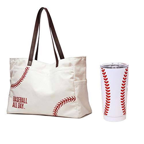 Oversize Baseball Tote Shoulder Bag & Tumbler Mug Package Large White...