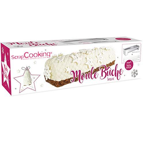 ScrapCooking - Moule à Bûche de Noël en Inox – Kit Accessoires Pâtisserie Dessert de Noël avec Insert Offert & Pieds Amovibles - Recette de Bûche Chocolat Blanc Noix de Coco - 1910