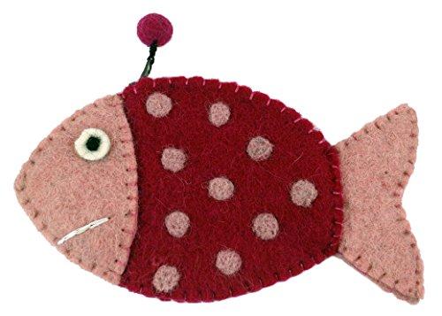 GURU SHOP Portemonnaie Fisch, Herren/Damen, Rosa-pink, Wolle, 9x16x1 cm, Portemonnaies aus Filz