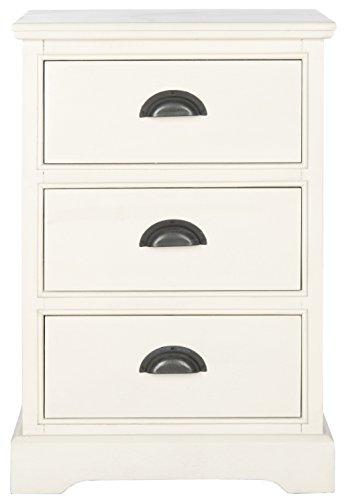 Safavieh Beistelltisch mit DREI Schubladen, Holz, weiß, 45 x 34 x 67.94 cm