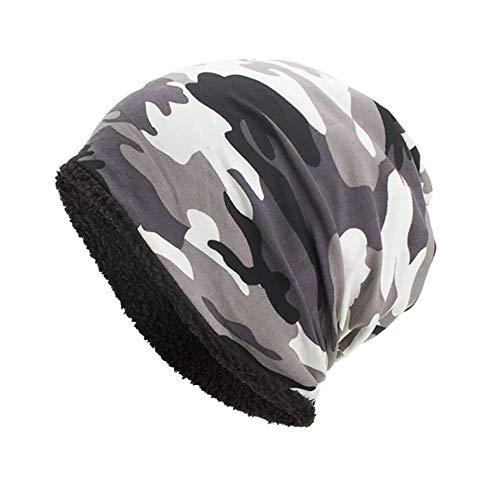 EROSPA® Winter-Mütze Beanie - Herren Damen Unisex Cape - Camouflage Weiß