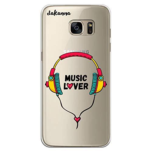 dakanna Funda para Samsung Galaxy S7 Edge | Auriculares con Frase: Music Lover | Carcasa de Gel Silicona Flexible | Fondo Transparente