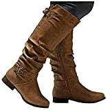 Cowgirl Boots Women Belt Buckle Low Chunky Heel Cowboy Boots for Women Round Toe Zipper Rodeo Knee High Boots