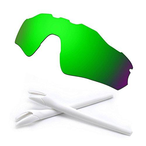 HKUCO Green Polarized Replacement Lenses and White Earsocks Rubber Kit For Oakley Radar EV Path Sunglasses