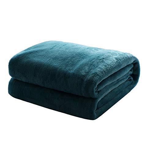 Mixibaby Kuscheldecke Flauschige extra weich & warm Wohndecke Flanell Fleecedecke, Falten beständig/Anti-verfärben als Sofadecke oder Bettüberwurf, Maße Decke Sarah:150 cm x 200 cm, Farbe:Dunkelgrün