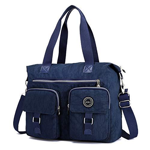 Women Duffle Bag Nylon Travel Weekender Bag Carry On Tote Overnight Bag Handbag Shoulder Small Travel Bag for Women Girl (Dark Blue)