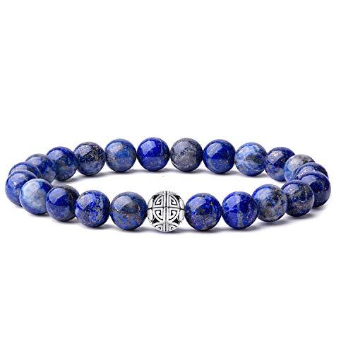 Natural 8mm piedras preciosas MetJakt Curación Crystal Stretch moldeado pulsera brazalete con plata de ley 925 doble felicidad colgante (lapislázuli)