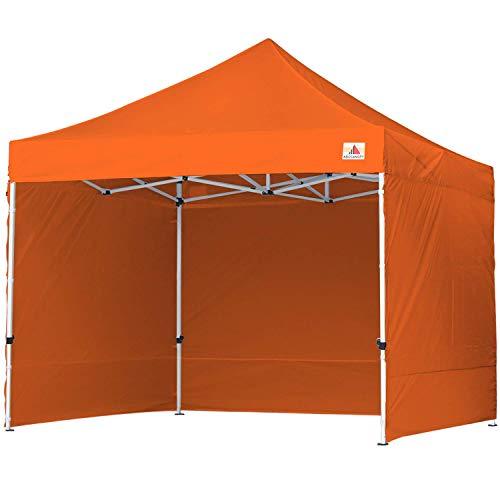 ABCCANOPY Pop-Up Pavillon Festival Sonnenschutz mit 4 Seitenteilen 3x3M Kommerzielle -Serien,Orange