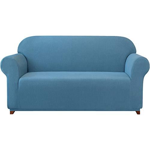 Subrtex kariert Sofabezug Sofahusse Sesselbezug Stretchhusse Sofaüberwurf Couchhusse Spannbezug (2 Sitzer, Denimblau)