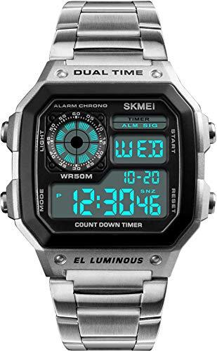 Gold Herrenuhren Digital Quadratische Armbanduhr 5ATM Wasserdicht Klassische Sportliche Sportuhr Edelstahl Rosegold Schwarz Silber