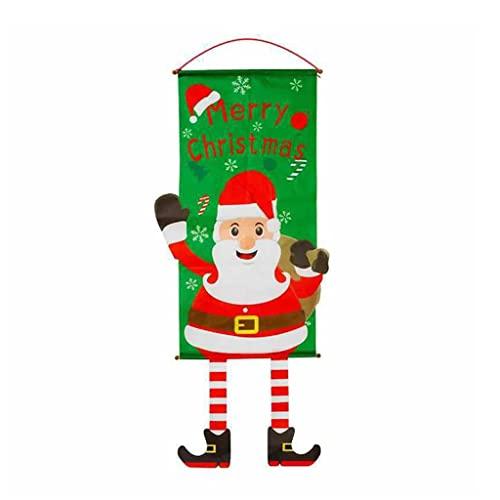 Qirun Frohe Weihnachten Fensterschild Banner Weihnachtsmann Schneemann Tür Veranda Hängende Flagge Dekor