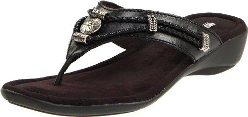 Minnetonka Women's Silverthorne Thong Sandal,Black,7 M US